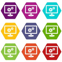 Monitor settings icon set color hexahedron