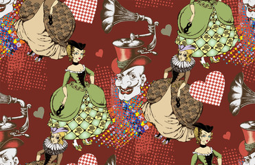 Pattern of carnival personages