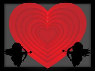 маленькие купидоны целятся в сердце