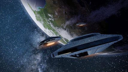 UFOs, alien spaceships approaching planet Earth, extraterrestrial visitors in flying saucers
