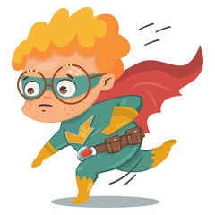 Superhero kid in green costume in cloak. Vector cartoon character in a retro style on a blue background.