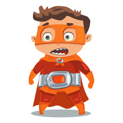 Superhero kid in a red costume in cloak and mask. Vector cartoon character in a retro style on a blue background.