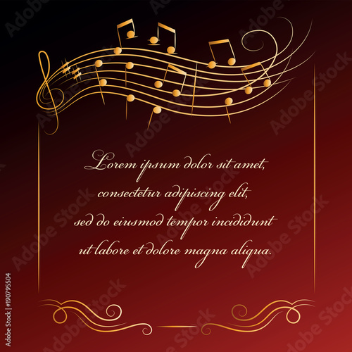 Musical Background Frame With Notes Poster Or Banner For Classical