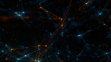 Abstract plexus structure of many glowing lines and particles. Blue and orange blurred background with digital composition and optical flares. 3d rendering