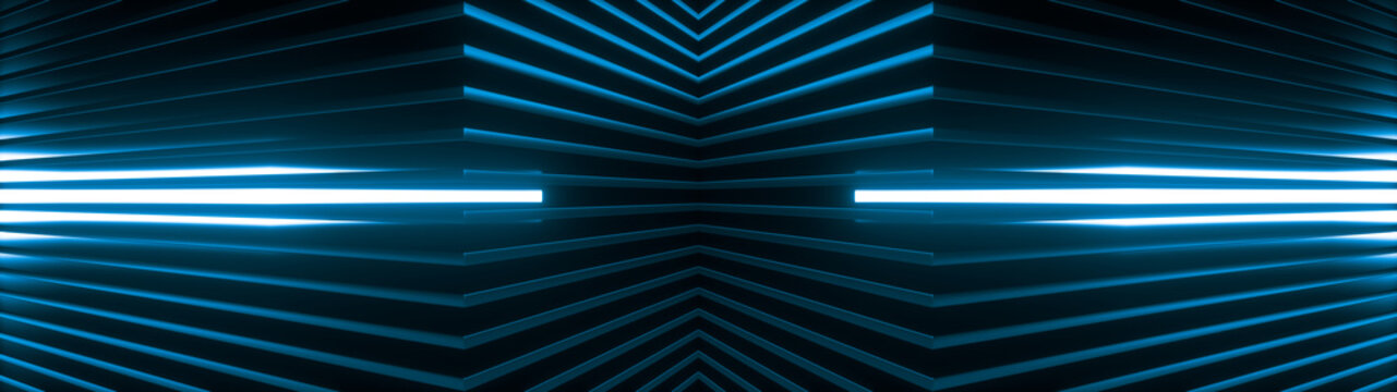 Geometric super wide background made of many blue metal shelves with glowing light behind. Abstract symmetric industrial structure. 3d rendering
