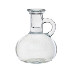 Jug. Storage of drinks. For a liquid. Glass. Isolated.
