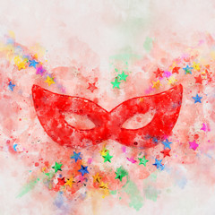watercolor style and abstract image of masquerade venetian mask background