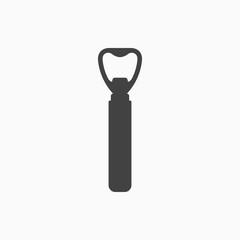 Bottle opener monochrome icon. Vector illustration.