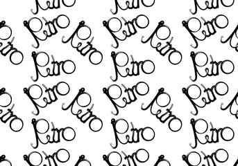 Black and white pattern, seamless design, retro inscription written in beautiful, hipster, curly, curled letters on a white background. Vector illustration.