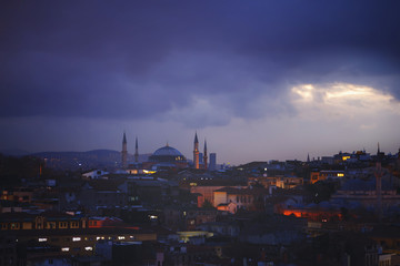 Istanbul view from top of the roof that placed inner city during very dark hours