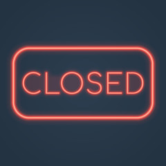 Glowing neon closed sign. Vector illustration.