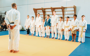 Trainer and little boys, kid judo training