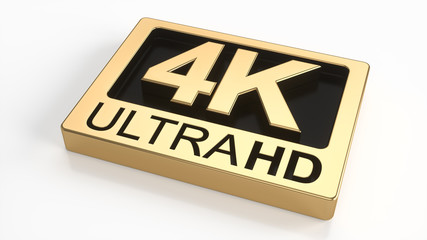 4K ultra hd symbol isolated on white background. Television technology concept of golden and black ultra high definition sign on white plane. 3d rendering