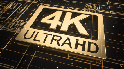 4K ultra hd symbol on abstract electronic circuit board. Television technology concept of gold and black ultra high definition sign on digital background with many lines and blurred effect. 3d render