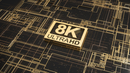 8K ultra hd symbol on abstract electronic circuit board. Television technology concept of gold and black ultra high definition sign on digital background with many lines and blurred effect. 3d render