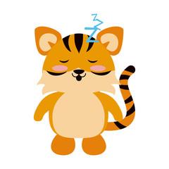 Cute tiger sleeping cartoon icon vector illustration graphic design