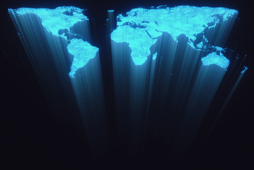3D illustration. Map of the world in form of fiber optic cables.