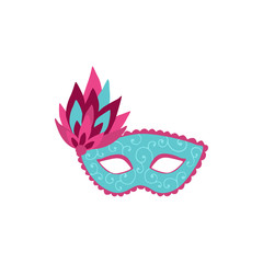 Hand drawn carnival vector mask isolated on white background. Masqeurade mask for decorating festive invitations, banners, greeting cards. Carnaval accessory illustration.