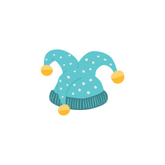 Carnival vector hat isolated on white background. Masqeurade jester hat for decorating festive invitations, banners, greeting cards. Carnaval accessory illustration.