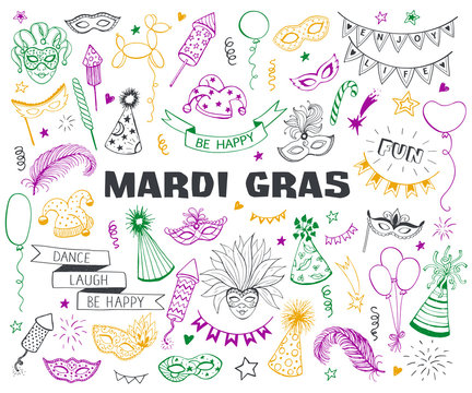 Hand drawn carnival objects set isolated on white background. Masqeurade design elements collection in line art style. Doodle carnival masks, feathers, firecrackers. Mardi grass traditional symbols.