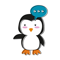 Cute penguin with speakbox cartoon icon vector illustration graphic design