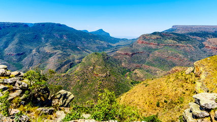 View of the highveld and the Blyde River Canyon along the Panorama Route in Mpumalanga Province of South Africa