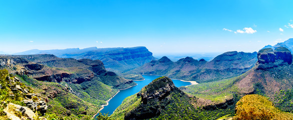 View of the highveld and the Blyde River Dam in the Blyde River Canyon Reserve, along the Panorama Route in Mpumalanga Province of South Africa Wall mural