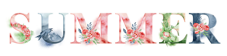 Summer watercolor word design with floral bouquets and crown. Hand drawn lettering, typography inscription. Inspiring label, greeting card, template, poster