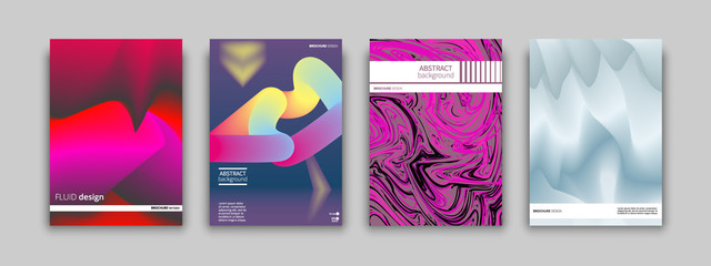 Set of colorful geometric abstract fluid covers design for placards, banners, presentations. Vector illustration. EPS 10. A4 format.