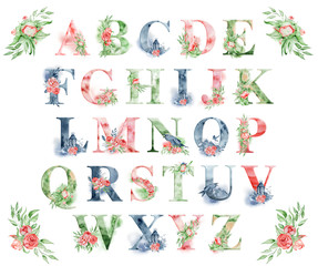 Watercolor alphabet with peonies flowers and leves. Romantic floral font. Monogram design