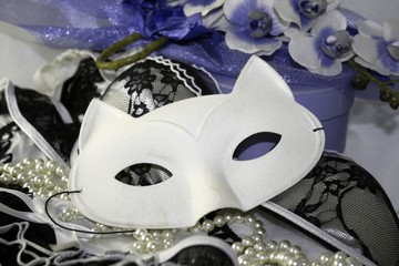 Beautiful composition of lacy lingerie, mysterious white cat eyemask, blue decorations. Double lifem glamour seductive theme.