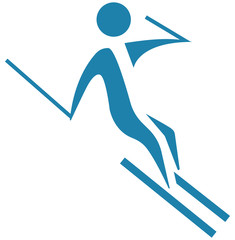 Downhill skiing icon