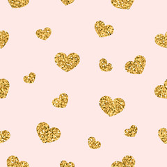 Gold heart seamless pattern. Golden chaotic confetti-hearts on pink background. Symbol of love, Valentine day holiday. Design for wallpaper, fabric texture. Vector illustration