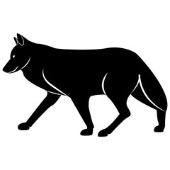 Vector image of a silhouette of a wolf on a white background
