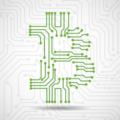 Abstract technology sign bitcoin of circuit board. Vector