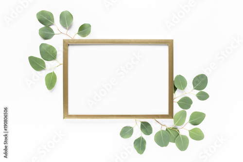 Square Gold Frame Decorated With Green Eucalyptus Leaves Twigs