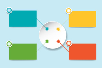 Set of six infographics color rectangles with colorful metal circles and blank white circle in the centre ready for your text