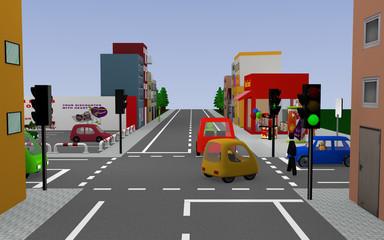 Stadtansicht mit grüner Ampel, bunten Autos, Personen, Häusern und Geschäften. 3d render