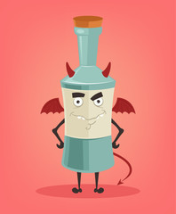 Angry alcohol bottle character mascot. Vector flat cartoon illustration