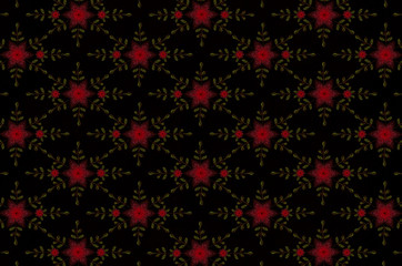 Seamless black background from stylized red cloves and leaves