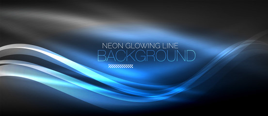 Photo sur Plexiglas Abstract wave Neon elegant smooth wave lines digital abstract background