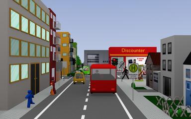 Stadtansicht mit roter Ampel, bunten Autos, Personen, Häusern und Geschäften.