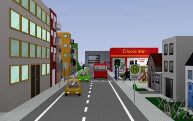 Stadtansicht mit grüner Ampel, bunten Autos, Personen, Häusern und Geschäften.