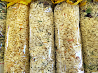 Bags of rice for risotto