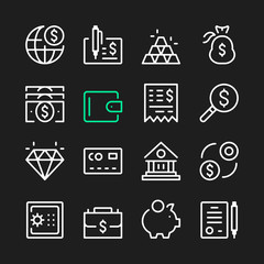 Banking line icons. Modern graphic elements, simple outline thin line design symbols. Vector icons set