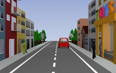 Straße mit Reihenhäusern, Spielzeuggeschäft, Personen, Auto und Straßenschild Ende Umweltzone. 3d render