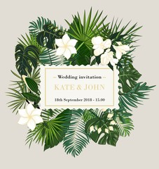 wedding invitation, background with tropical leaves