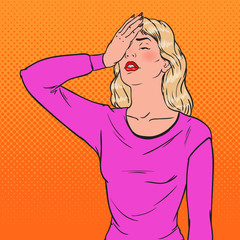 Pop Art Ashamed Young Woman Covering Her Face with Hands. Facial Expression Negative Emotion. Vector illustration