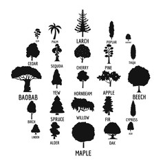 Tree icons set. Simple illustration of 25 tree vector icons for web