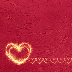Vintage Grunge Red background with glowing hearts